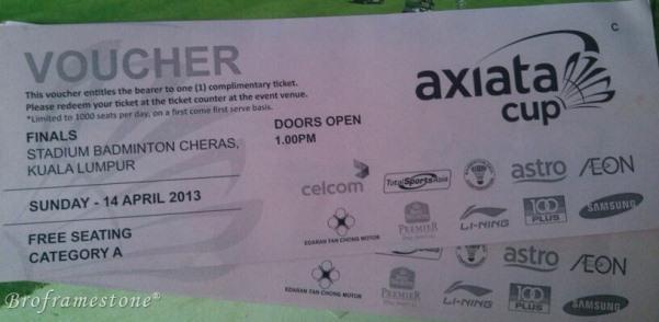 Tiket Final Axiata Cup 2013