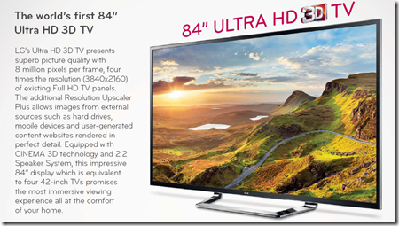 84 Ultra HD 3D TV