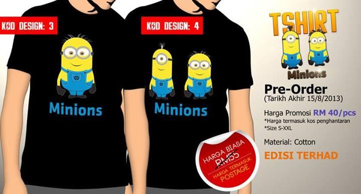 Tshirt Minions Hitam