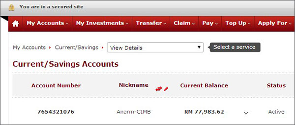 10 Digit No Akaun CIMB Bank