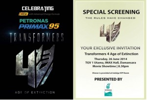 Jemputan Transformers 4 Age of Extinction