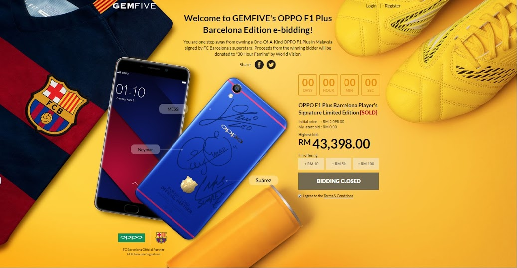 OPPO F1 Plus BC Barcelona Edition at RM43K