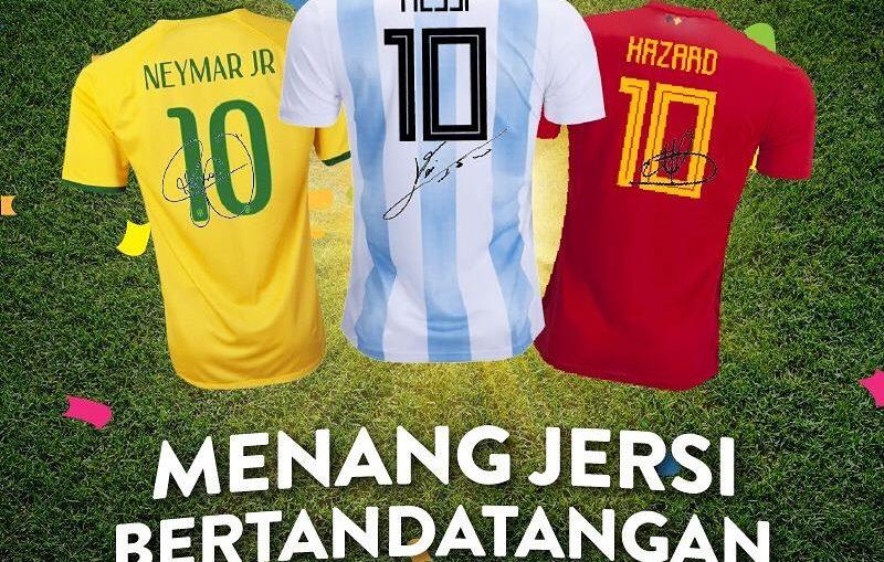 Jersi Bola Tandatangan Messi, Neymar dan Hazard